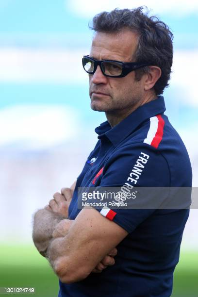 France trainer Fabien Galthie during match Italy-France in the Olympic stadium. Rome , February 06th, 2021