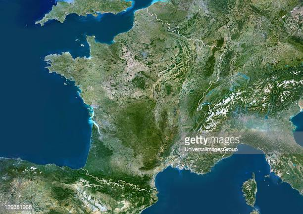 France true colour satellite image with border France is the largest country in Europe in terms of area The country includes the island of Corsica in...