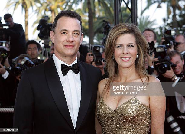 US actor Tom Hanks and his wife Rita Wilson arrive for the official projection of the Cohen brothers' film Ladykillers 18 May 2004 at the 57th Cannes...