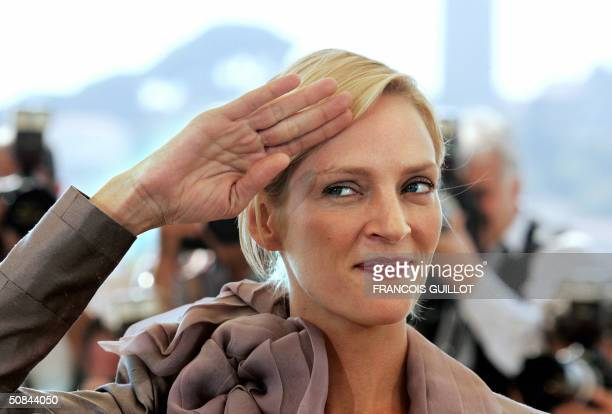 US actress Uma Thurman poses during a photo call for the film 'Kill Bill 2' 16 May 2004 during the Cannes Film Festival in the French Riviera town...