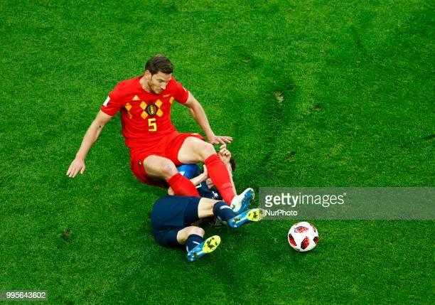 France v Belgium Semifinal FIFA World Cup Russia 2018 Benjamin Pavard tackles on Jan Vertonghen at Saint Petersburg Stadium in Russia on July 10 2018