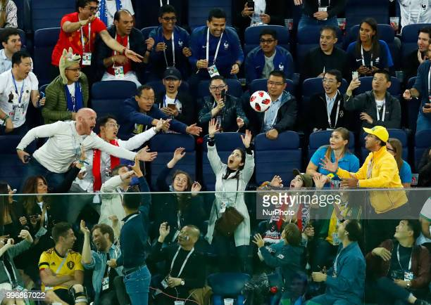 France v Belgium Semifinal FIFA World Cup Russia 2018 Spectators catching the ball in the stand at Saint Petersburg Stadium in Russia on July 10 2018