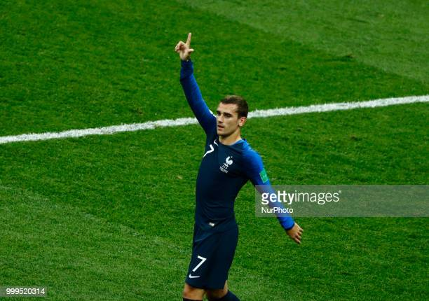 France v Croatia FIFA World Cup Russia 2018 Final Antoine Griezmann celebrates after the own goal scored y Mario Mandzukic at Luzhniki Stadium in...