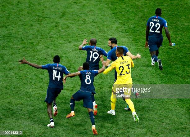 France v Croatia FIFA World Cup Russia 2018 Final Blaise Matuidi Thomas Lemar Djibril Sidibe Adil Rami Alphonse Areola Benjamin Mendy celebrate at...