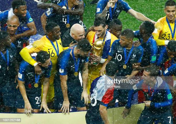 France v Croatia FIFA World Cup Russia 2018 Final Fifa President Giovanni Infantino gives the trophy to France captain Hugo Lloris at Luzhniki...