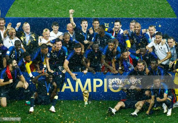 France v Croatia - FIFA World Cup Russia 2018 Final France celebration with the trophy at Luzhniki Stadium in Russia on July 15, 2018.
