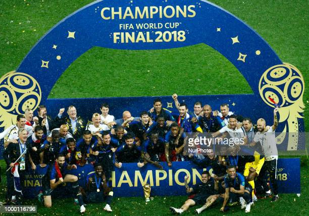 France v Croatia FIFA World Cup Russia 2018 Final France team celebrates with the trophy during the award ceremony at Luzhniki Stadium in Moscow...