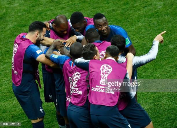 France v Croatia FIFA World Cup Russia 2018 Final Kylian Mbappe celebrates with Blaise Matuidi and the teammates at Luzhniki Stadium in Russia on...