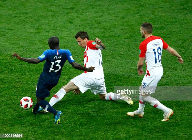 France v Croatia FIFA World Cup Russia 2018 Final Mario Mandzukic tackling on Ngolo Kante at Luzhniki Stadium in Moscow Russia on July 15 2018