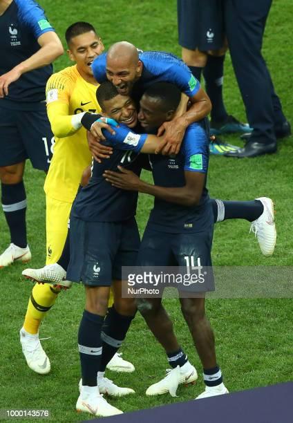 France v Croatia FIFA World Cup Russia 2018 Final Steven Nzonzi Kylian Mbappe and Blaise Matuidi celebrate at Luzhniki Stadium in Moscow Russia on...