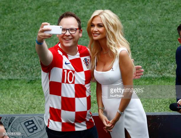 France v Croatia FIFA World Cup Russia 2018 Final World Cup 2018 ambassador Victoria Lopyreva during the closing ceremony at Luzhniki Stadium in...