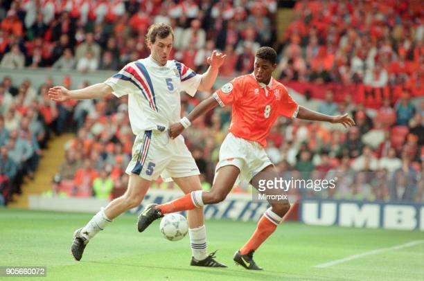 France v Netherlands Euro 1996 Quarter finals match at Anfield Liverpool Saturday 22nd June 1996 00 aet France win 54 on penalties Laurent Blanc No5...