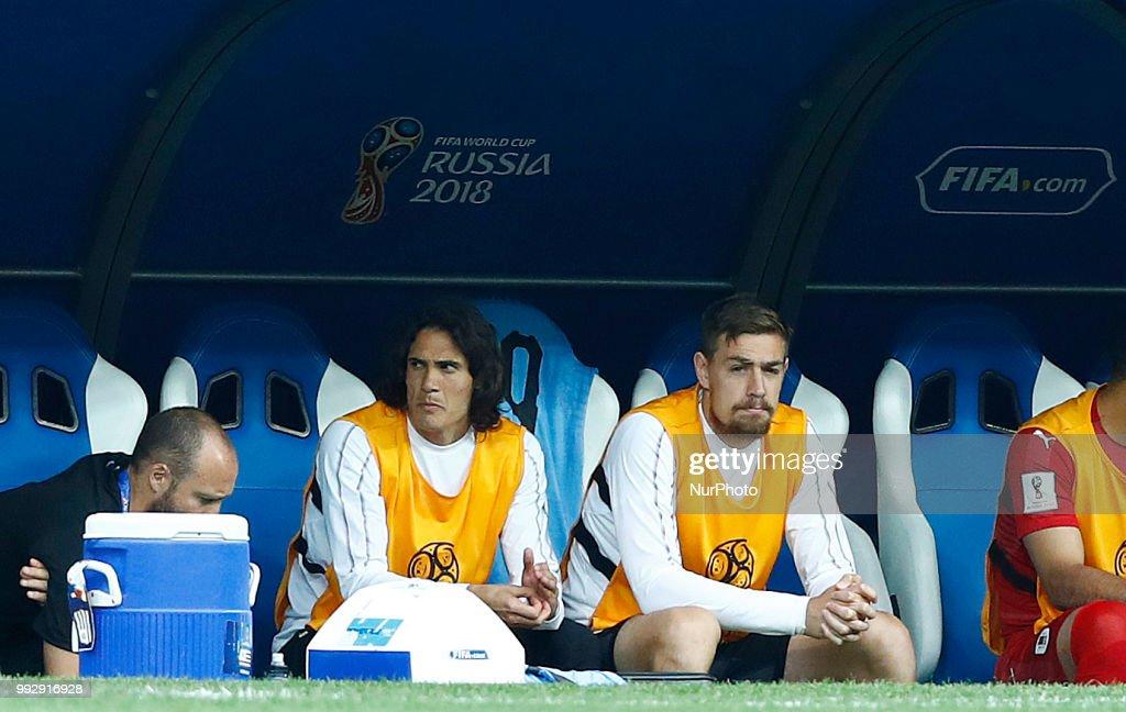 France v Uruguay - Quarter-finals FIFA World Cup Russia 2018 Edinson Cavani (Uruguay) injured on the bench at Nizhny Novgorod Stadium in Russia on July 6, 2018.