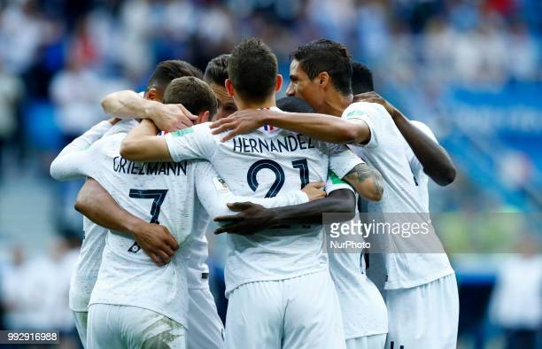 France v Uruguay Quarterfinals FIFA World Cup Russia 2018 France celebration after the goal scored by Antoine Griezmann at Nizhny Novgorod Stadium in...