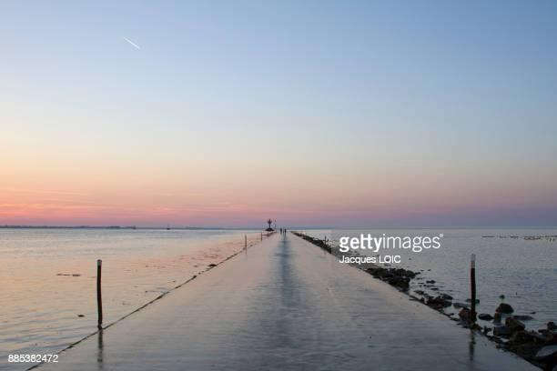 France, Vendee, Passage du Gois, passable road at low tide.