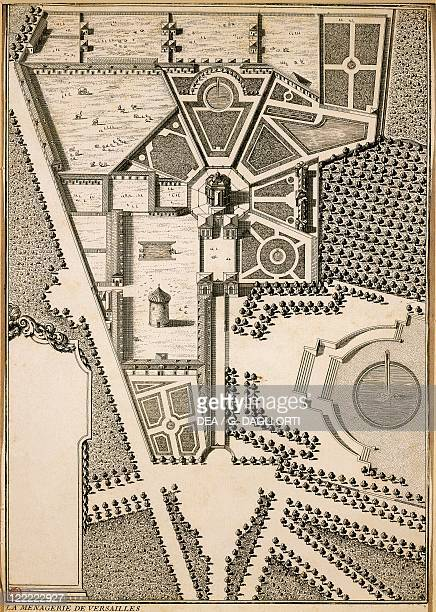 France Versailles Bird eye view of the menagerie designed by Louis Le Van engraving 166364