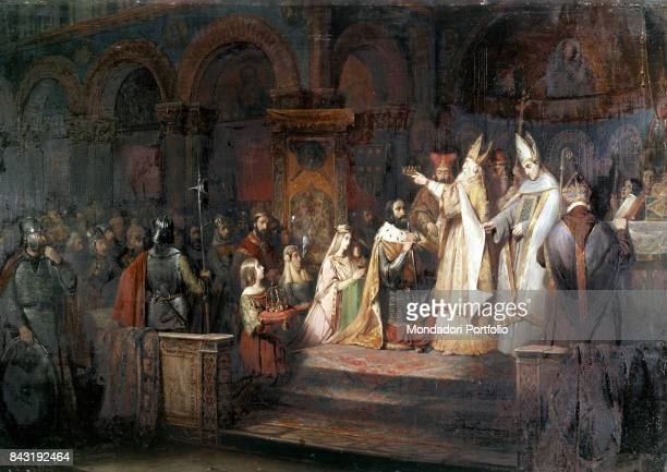France Versailles Palace of Versailles Whole artwork view The emperor of Franks Charlemagne being crowned King of the Lombards by the pope on 10th of...