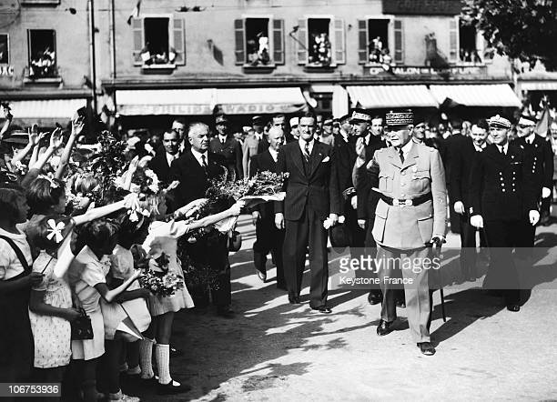 France Vichy Marshal Petain Greeted By The Crowd In Background Rene Bousquet Police Secretary In 1942
