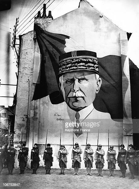 France Vichy Military Parade Before Marshal Petain Portrait In The Forties During World War Ii