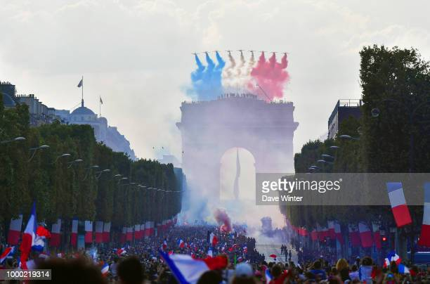 France victory ceremony at Avenue Des Champs Elysees on July 16 2018 in Paris France France won the 2018 FIFA World Cup Russia match against Croatia...