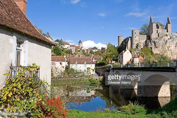 France, Vienne, Angles sur lAnglin, village on and bridge on river