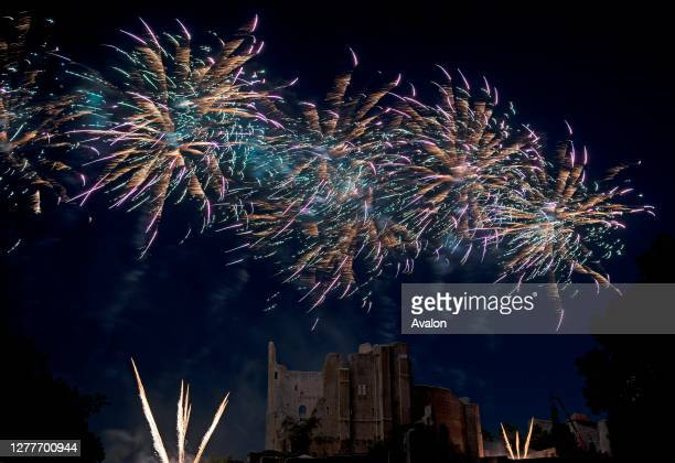 France, Vienne , Chauvigny, fireworks on the old castel for the 14 July.