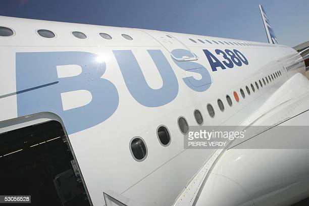 View of the body of the Airbus A380 at Le Bourget airport 12 June 2005 after the plane landed near Paris . An Airbus A380 aircraft landed for the...