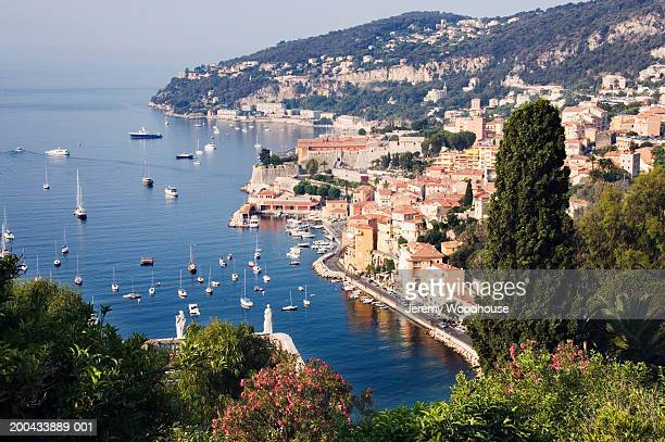 france, villfranche sur mer, elevated view of town - jeremy woodhouse stock photos and pictures
