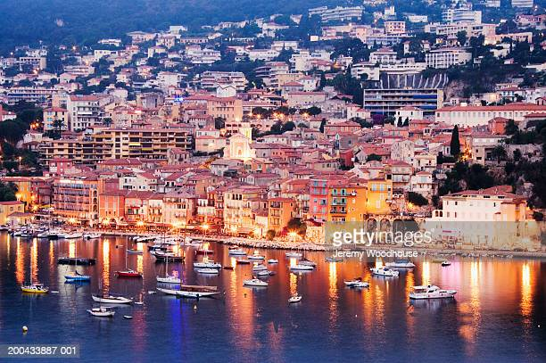 France, Villfranche sur Mer, town at dawn, elevated view