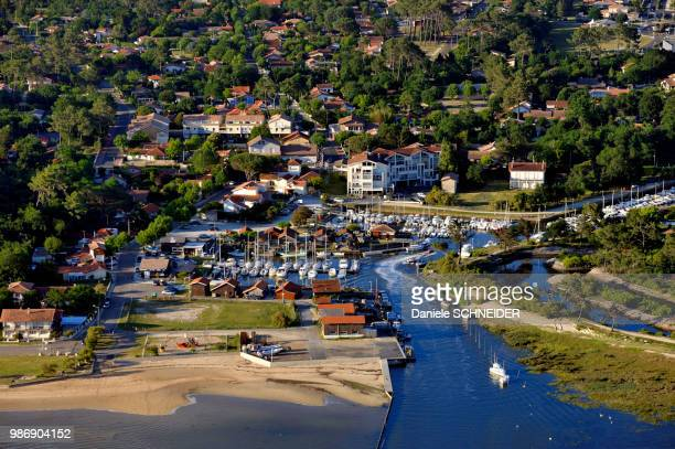 France, West-coast of France, Arcachon Bay, aerial view of the leisure and oyster harbours of Cassy