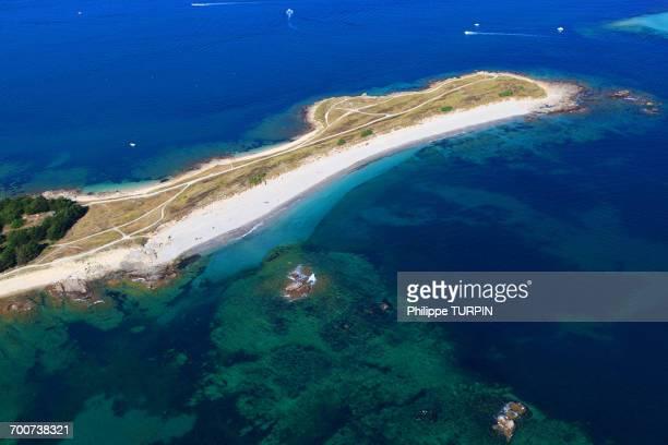 france, western france, aerial view of quiberon peninsula. pointe conguel. - golfe du morbihan photos et images de collection