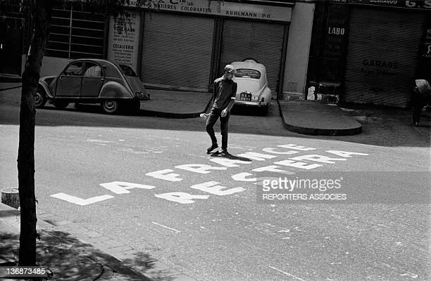 'France will stay' written on the road after the Evian Accords during June 1962 in Algiers Algeria