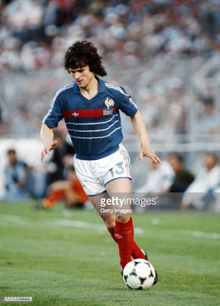 France winger Didier Six in action during the 1984 European Championships semi final against Portugal at Stade Velodrome on June 23 1984 in Marseille...