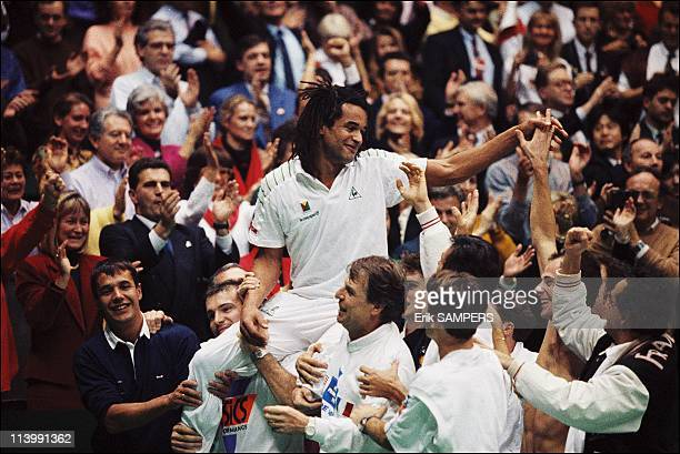 France winner of tennis Davis cup against the USA in Lyon France On December 01 1991Yannick Noah