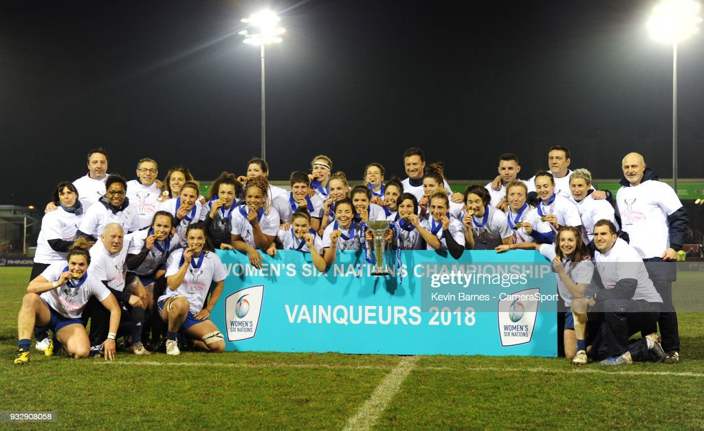 France Women celebrate winning the Women's 6 Nations championship during the Women's Six Nations Championships Round 5 match between Wales Women and France Women at Parc Eirias on March 16, 2018 in Colwyn Bay, Wales.