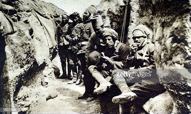 France World War I African cavalrymen resting in a trench