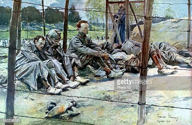 France World War I Battle of the Somme German officers taken prisoner Drawing by Francois Flameng