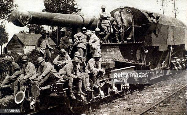 France World War I Heavy artillery in the Somme A 274mm gun mounted on the railway