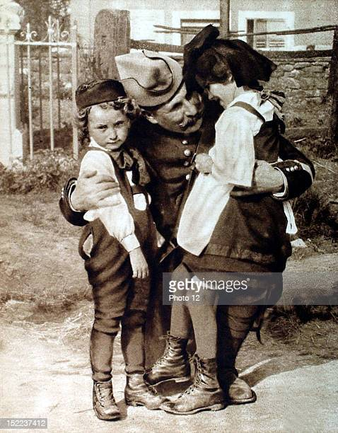 France World War I In Alsace a soldier playing with young Alsacians