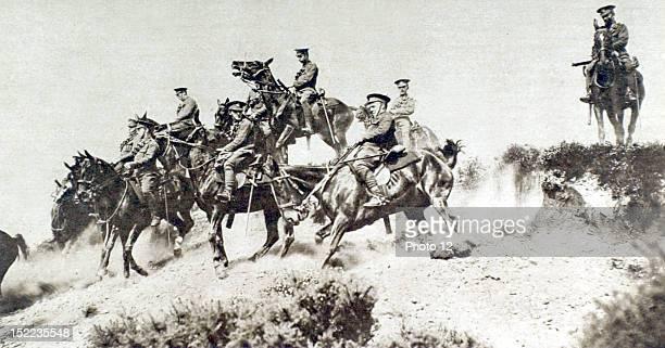 France World War I, In Picardy, British cavalry training.