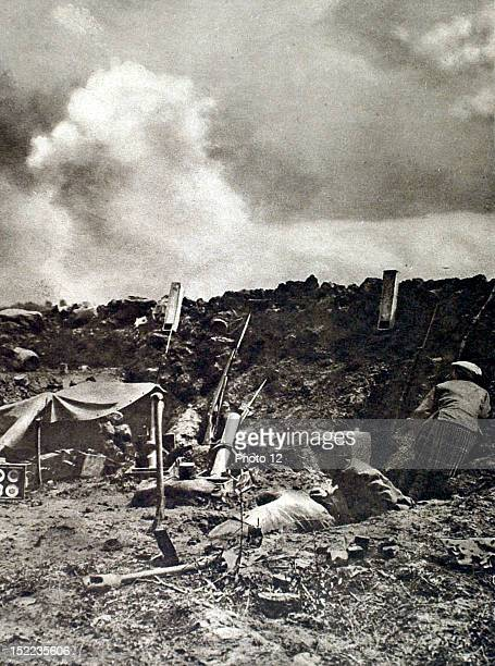 France World War I On the Somme front Scottish soldiers on the front line A German 84mm shell exploding just in front of the trench parapet