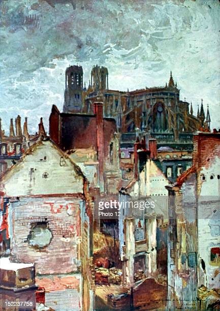 France World War I The factory district in Rheims dominated by the cathedral Watercolor by Charles Duvent