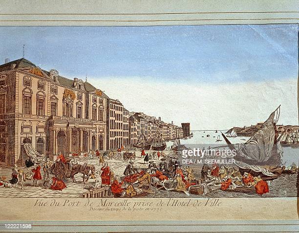 France - XVIII century - Plague in the port of Marseille. Engraving.
