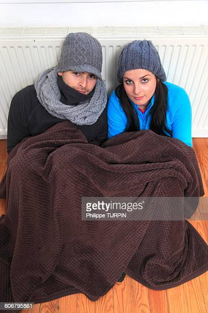 France, young couple dressed warmly
