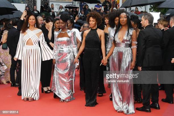 France Zobda Aissa Maiga Rachel Khan and Nadege BeaussonDiagne authors of the book 'Noire n'est pas mon métier ' attend the screening of 'Burning'...