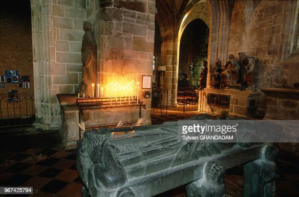 FranceBritannyFinistere Locronan Medieval Town The Church Built In Xiv Th Century The St Ronan Grave