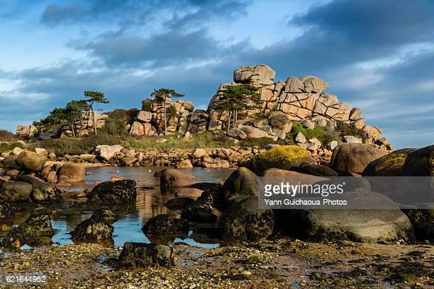 france,brittany,cotes d'armor, the pink granit coastline  at ploumanach, commune of perros guirec - perros guirec photos et images de collection