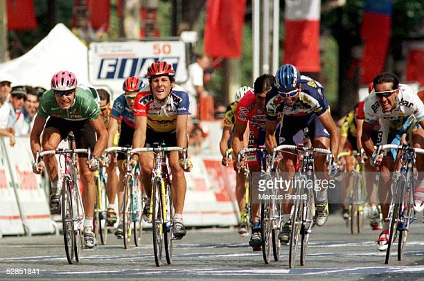 Letzte Etappe Ankunft in Paris 21.7.96, Erik ZABEL/Jeroen BLIJLEVENS/Fabio BALDATO - / Frederic MONCASSIN