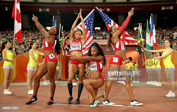Francena McCorory of the United States, Sanya Richards-Ross of the United States, Natasha Hastings of the United States and Allyson Felix of the...