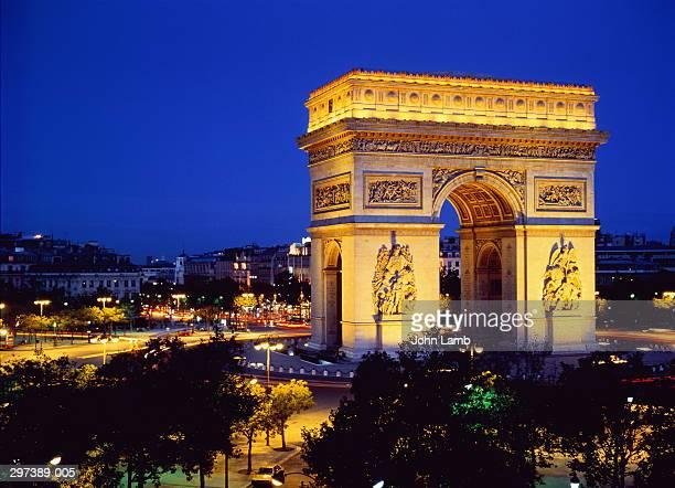 France,Paris,Arc de Triomphe at night